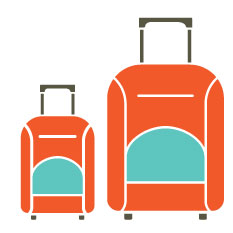 Two suitcases, one smaller than the other